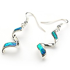 Fashion 925 Silver Plated Copper Blue Opal Earrings