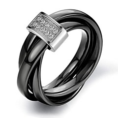 Fashion Women's Black Ceramic Band Rings(1 Pc)