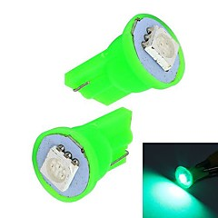 Merdia 0.5W 10LM T10 1x5050SMD LED Green Light Car Instrument / Brake Lamp Bulbs(Pair /12V)