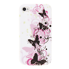 Butterfly & Flower Pattern Back Cover Case untuk iPhone 4