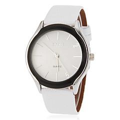 Vrouwen Eenvoudige ronde wijzerplaat pu band quartz analoog horloge