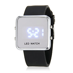 Men's Blue LED Digital Silver Square Case Silicone Band Faceless Watch (Assorted Colors)