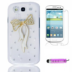 Colorful Crystal Peacock Plastic Phone Shell +HD Film + Mini Stylus 3 in1 for Samsung Galaxy S3 i9300