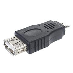 USB 2.0 A hun til Micro Male Adapter / OTG Connector Tablet / PC stik (sort)