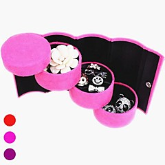 Multi-Color Suede Cilindro 3-Layer Shaped Jewlery armazenamento Box & Display Stand (cores sortidas)