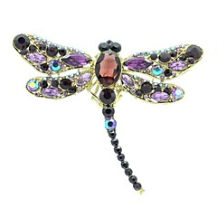 9.5cm Alloy and Rhinetone Dragonfly Brooch Pin (More Color)