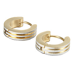 Gift For Boyfriend Fashion Polishing Gold Titanium Steel Stud Earrings (1 Pair)