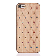 Diamond Look Flows Carved Wooden Golden PC Hard Case for iPhone 5/5S