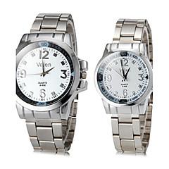 Paar Casual Style Silber Steel Band Quarz-Armbanduhr (verschiedene Farben)