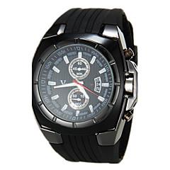 Men's Military Style Black Dial Silicone Band Quartz Wrist Watch