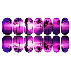 12PCS Romantic Purple Coconut Tree Luminous Nail Art Stickers