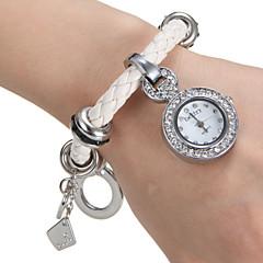 Diamante ronde des femmes Dial Steel Band bracelet de quartz analogique