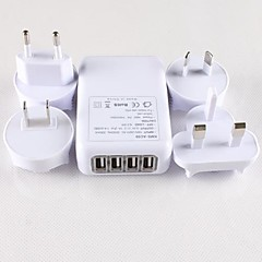 4 USB Ports and 4 Easy Universal Travel Interchangeable Plugs Power Adapter for iPhone 6 iPhone 6 Plus and Others (5V-1A)