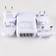 4 USB-portar och 4 enkla universalrese utbytbara pluggar nätadapter för iphone 6 iphone 6 plus m.fl. (5v-1a)