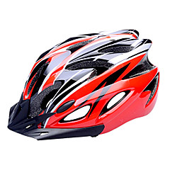 FJQXZ EPS + PC Red and Black integreret støbt cykelhjelm (18 Ventilationsåbninger)