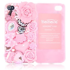 HOHONG (TM) Bling Cutie Blooming Flowers Taske til iPhone 4 / 4S