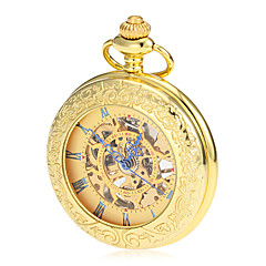 Menns Mekaniske Hollow Dial Gold Alloy Pocket Watch