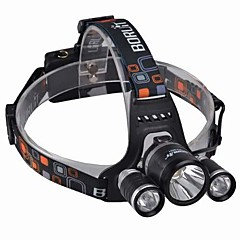 BORUIT SF-555B Uppladdningsbart 3 * CREE XML-T6 4-läge LED 10w High Power Headlamp (3000lm, 2 * 18650, Svart)