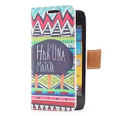 Hakuna Matata Style Leather Case with Card Slot and Stand for Samsung Galaxy S Advance i9070