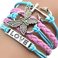 Women's Girls' ID Bracelets Leather Bracelet Wrap Bracelet Unique Design Love Heart European Inspirational Initial Jewelry Plaited Fashion