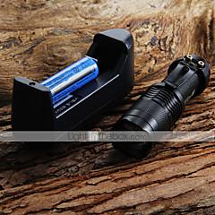 Linterna Mini LED antorcha 7W 300LM CREE Q5 LED del foco ajustable de la linterna del zumbido + 14500 3.6V batería + cargador de batería