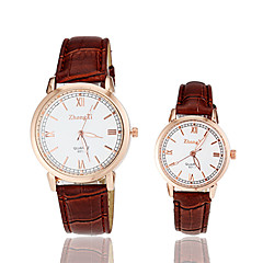 Couple's Roman Numerals PU Band Quartz Wrist Watch (Assorted Colors)