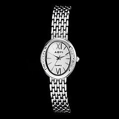 Diamant rond de femmes de cadran de bande en acier bracelet à quartz (couleurs assorties)