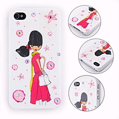 Colorful Crystal Surface Young Girl Pattern Back Case for iPhone 4/4S