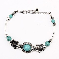 Coway3000033 Vintage Bohemian Style Butterfly Turquoise Bracelet