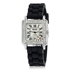 Women's Diamante Dual-cycled Round Dial Alloy Band Quartz Analog Fashion Watch (Assorted Color)