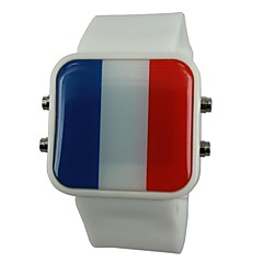 Unisex LED France Flag Style Silicone Band Wrist Watch(Assorted Colors)