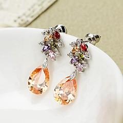 Gorgeous  Multicolor Crystal Leaf  Drop Earrings