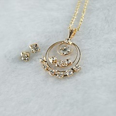 Miss ROSE®Zircon Three Rows Earrings & Necklace Jewelry Set