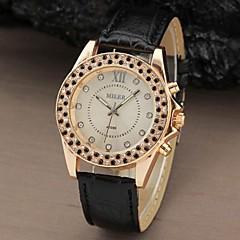 남녀 공통 유행 모조 다이아몬드 상자 PU 밴드 석영 손목 시계 (분류 된 색깔)