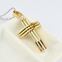 Fashion Men's  Gold/Silver/Color Gold Multilayer Cross Titanium Steel Pendant Necklace  Jewelry