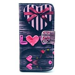 Love Heart Bow Pattern PU nahkainen korttipaikka ja jalusta Samsung Galaxy S4 mini I9190