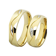 Ring AAA Cubic Zirconia Wedding / Daily Jewelry Stainless Steel / Gold Plated Women / Men / Couples Couple Rings 2pcs,5 / 6 / 7 / 8 / 9 /
