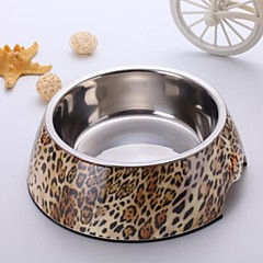 Fashion Leopard Applique melamina rotonda Ciotola con piatto in acciaio inox per Pet Dogs