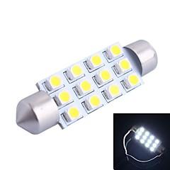 42mm 3W 150lm 6000K 12x3528 SMD hvid LED til bil Læsning / License Plate / Dør Lamp (DC12V, 1stk)