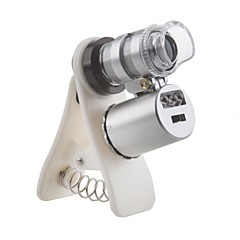 Universal Clip 60X Magnification Microscope for iPhone/iPad and Cellphone (with LED Head Light & UV Light)