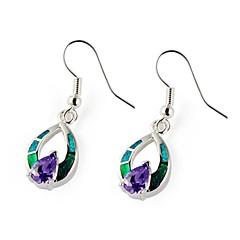 Fashion 925 Silver Plated Copper Zircon Opal Earrings 1 Pair