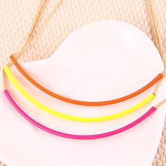 europa fluoreszierende Farbe multicolor Bonbonfarben kurzen Absatz weiblichen Punk Halskette einfachen gebogenen (gelegentliche Farbe)