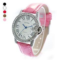 Cas PU bande de montre bracelet à quartz cristal de mode des femmes (couleurs assorties)