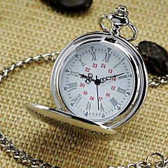 Men's Mirror Round Roman numeral Dial Vintage Quartz Analog Pocket Watch