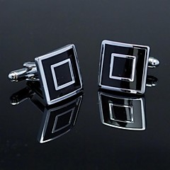 Fashionable Square Black Silver Man Checked Pattern Cufflink for Men (1pair) Jewelry Christmas Gifts