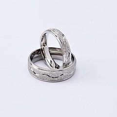 Fashion Silber Ripple Titan Stahl Paar Ringe