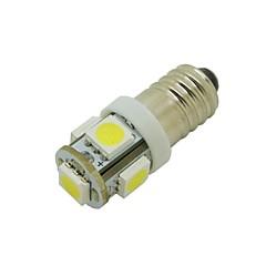 E10 1W 5X5050 SMD Lämmin valkoinen 3000K valot LED Lamppu DIY (DC 12V, 2-Pack)