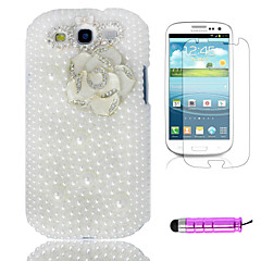 Full Pearl White Camellia Plast Telefon Shell + HD Film + Mini Stylus 3 in1 för Samsung Galaxy S3 i9300