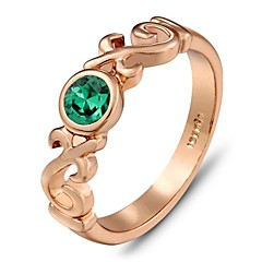 Vintage Italina Gift for Girl Gold Jewelry Austrian Crystal Rose Yellow Gold Plated Emerald Ring
