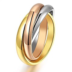 Fashion Through Creative Three-ring Trichromatic Winding High-quality Titanium Gold Plated Ring